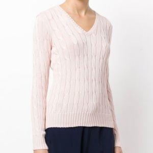 Ralph Lauren Gorgeous cable knit v neck sweater